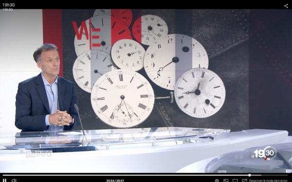 Téléjournal du 27 octobre 2018. Nicolas Rossé raconte le changement d'heure et sollicite archives de JSH (fondé en 1876)