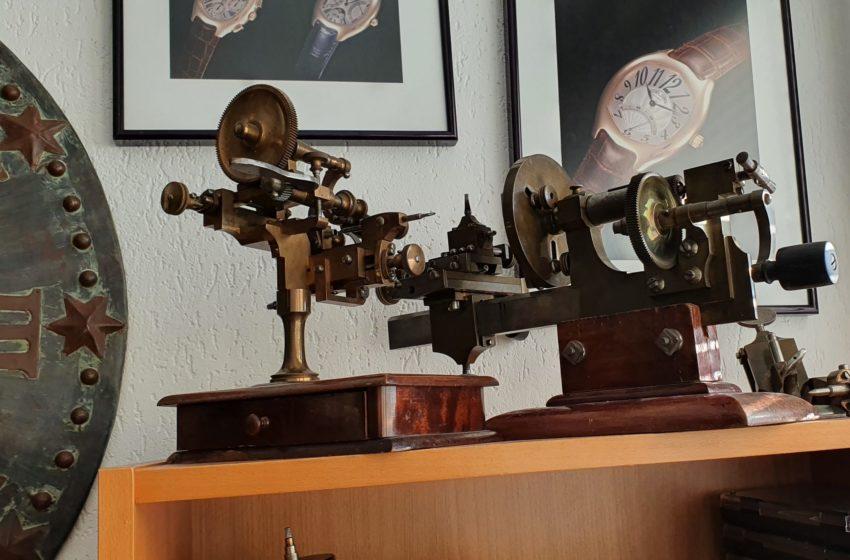 Machines horlogères antiques, atelier Cédric Johner à Carouge (Genève)